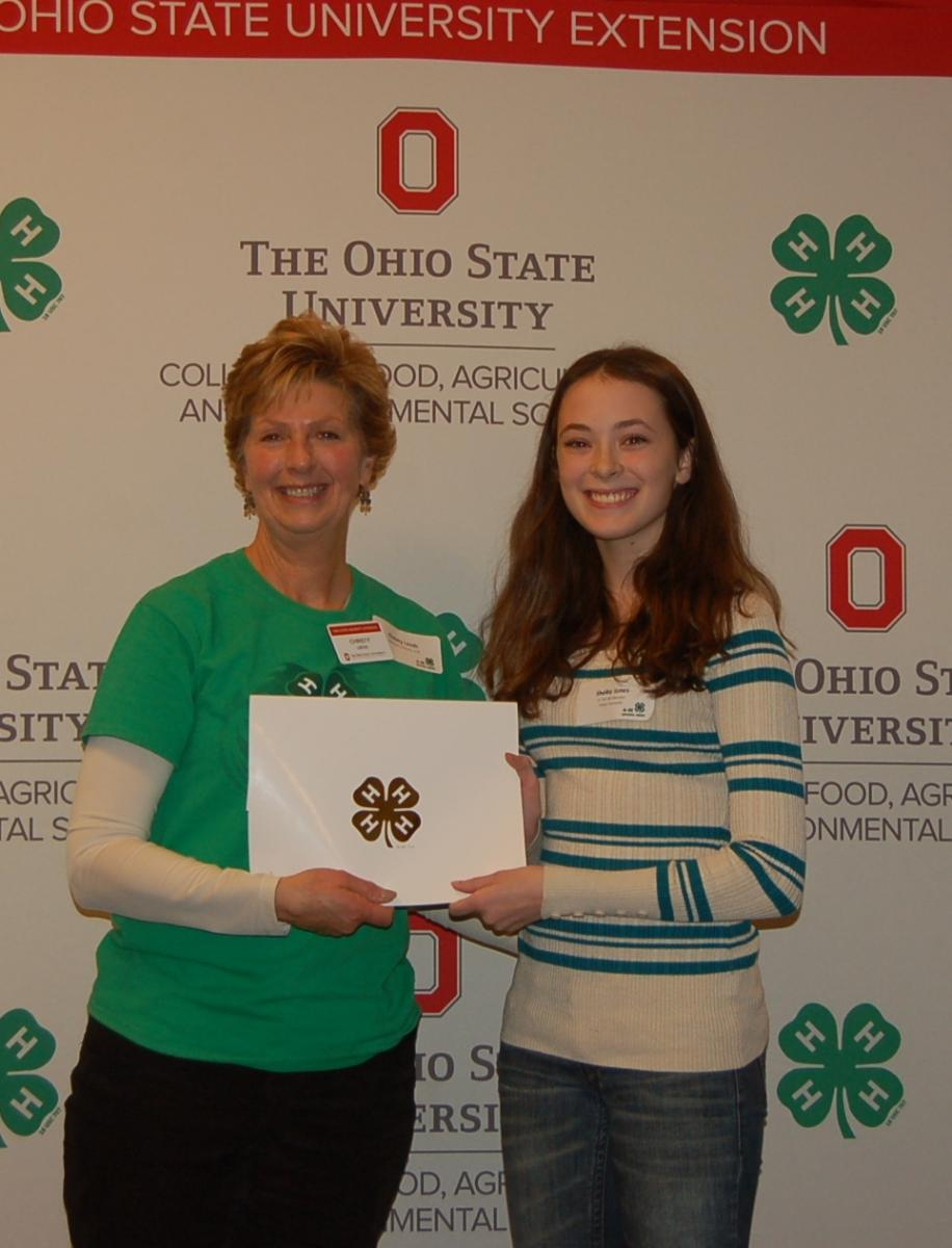 Shelby Jones is recognized as an Outstanding 4-H'er